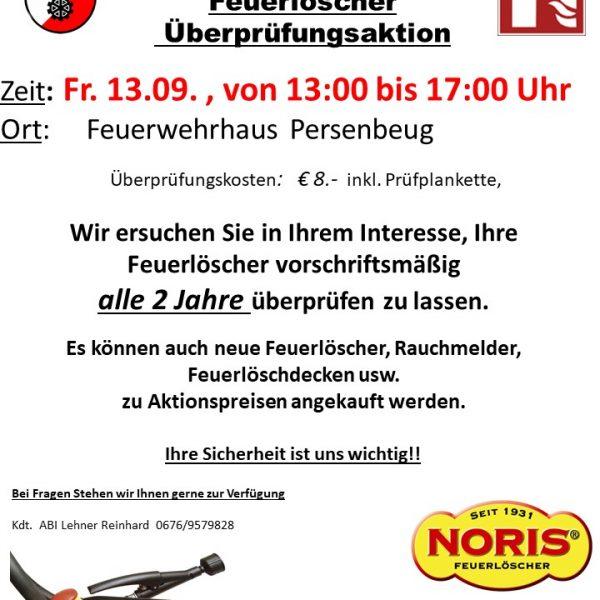 Feuerlöscher Überprüfungsaktion 13. September 2019